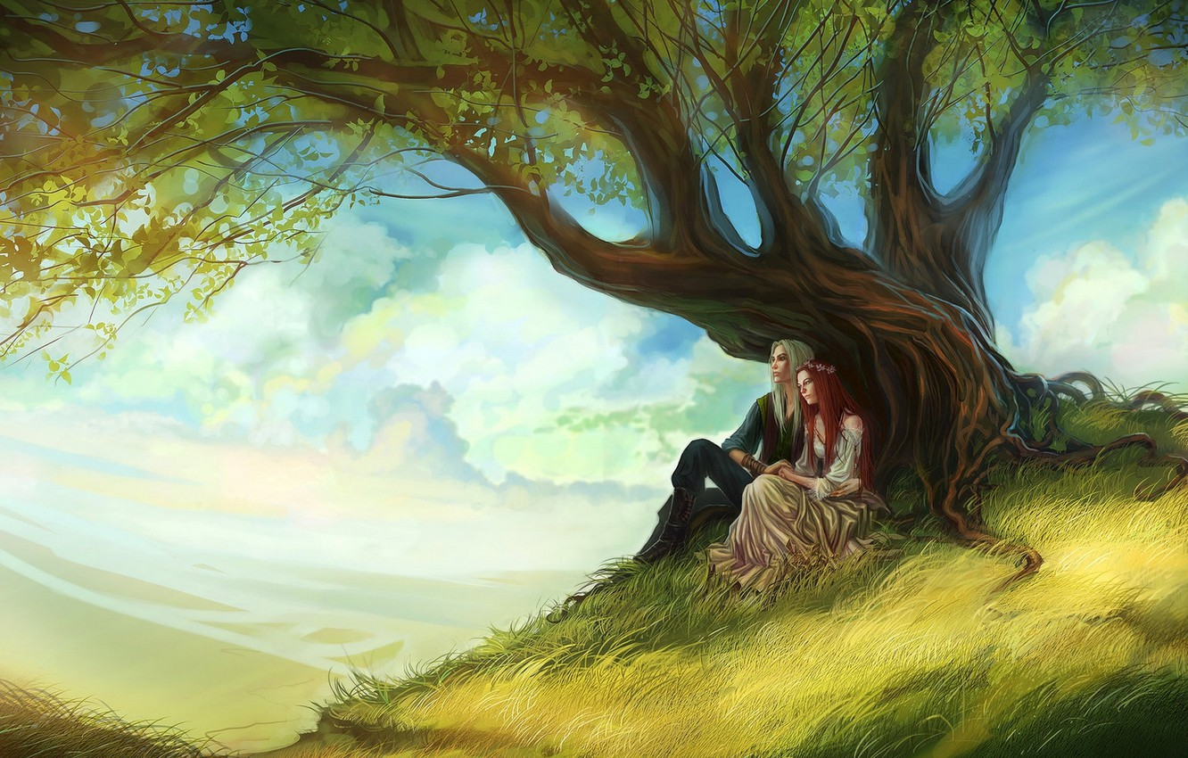 Photo wallpaper the sky, leaves, girl, clouds, tree, art, guy, red hair, long hair, a couple in …
