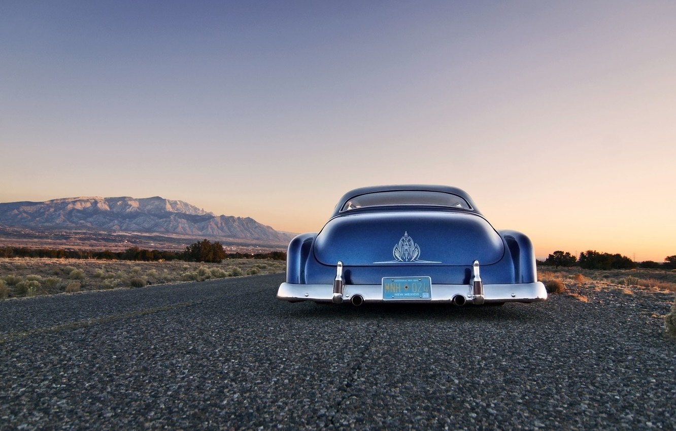 Photo wallpaper road, the sky, mountains, Chevrolet, back, twilight, classic, 1951, custom, chopped