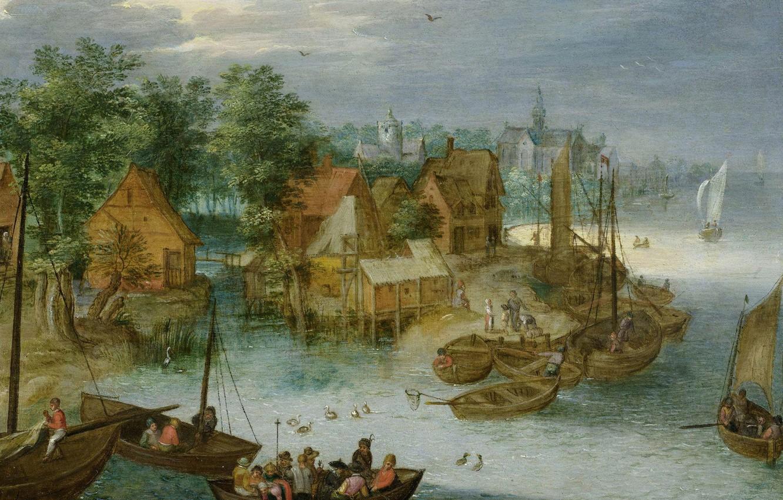 Photo wallpaper landscape, picture, Jan Brueghel the elder, Fishing Village on Water