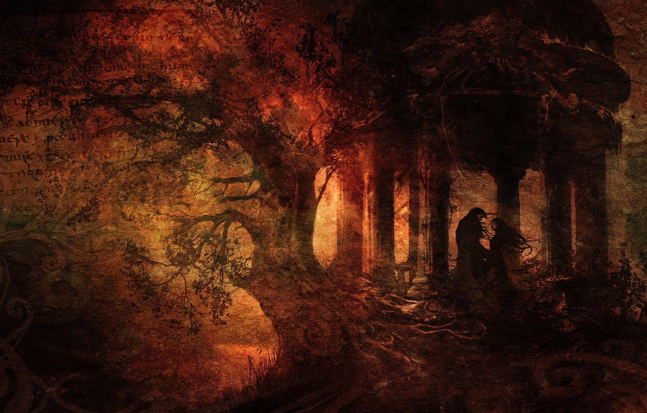 Photo wallpaper forest, letter, girl, text, roots, tree, meeting, dark, scratches, guy, gazebo, 1920x1080, grunge, Anime