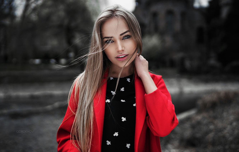 Photo wallpaper Girl, Red, Model, Beauty, View, Coat, Nice, Mary Jane, Wore, Gorokhov