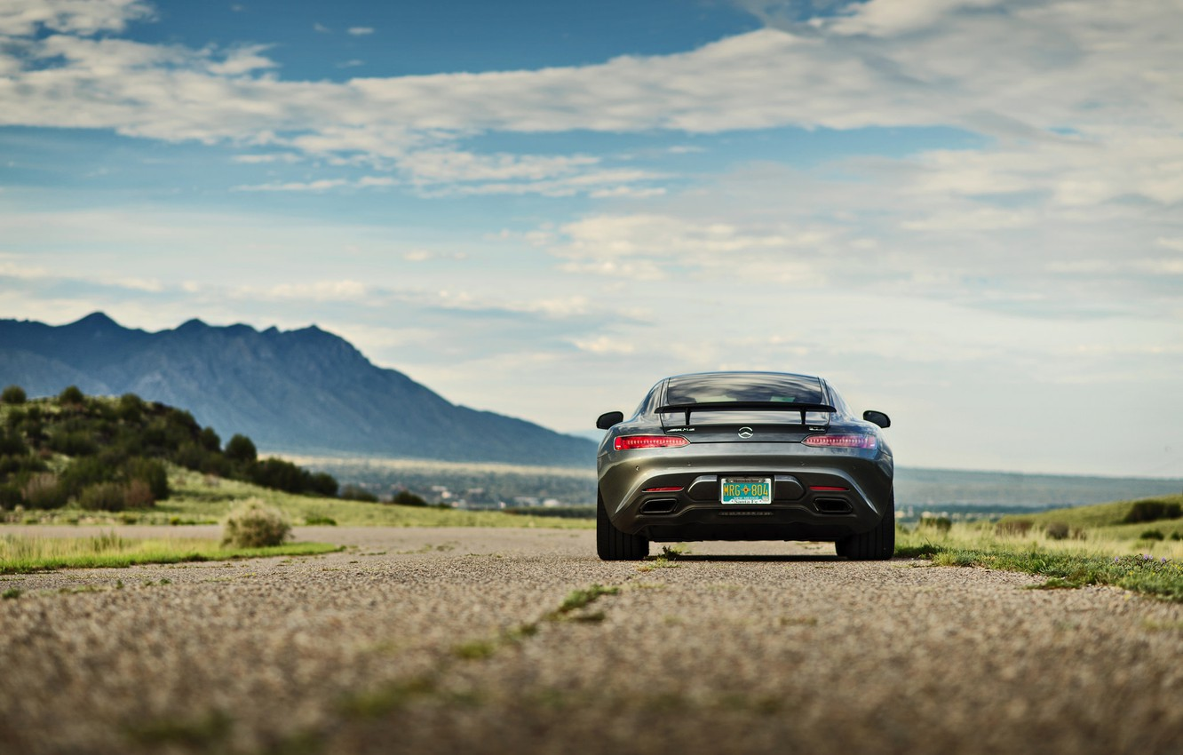 Photo wallpaper road, the sky, clouds, mountains, Mercedes-Benz, back, GTS, tail lights