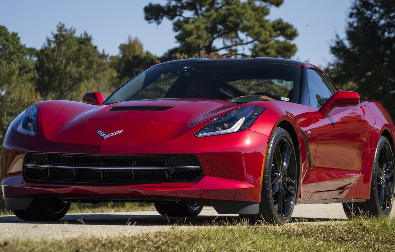 Photo wallpaper Corvette, red, Stingray