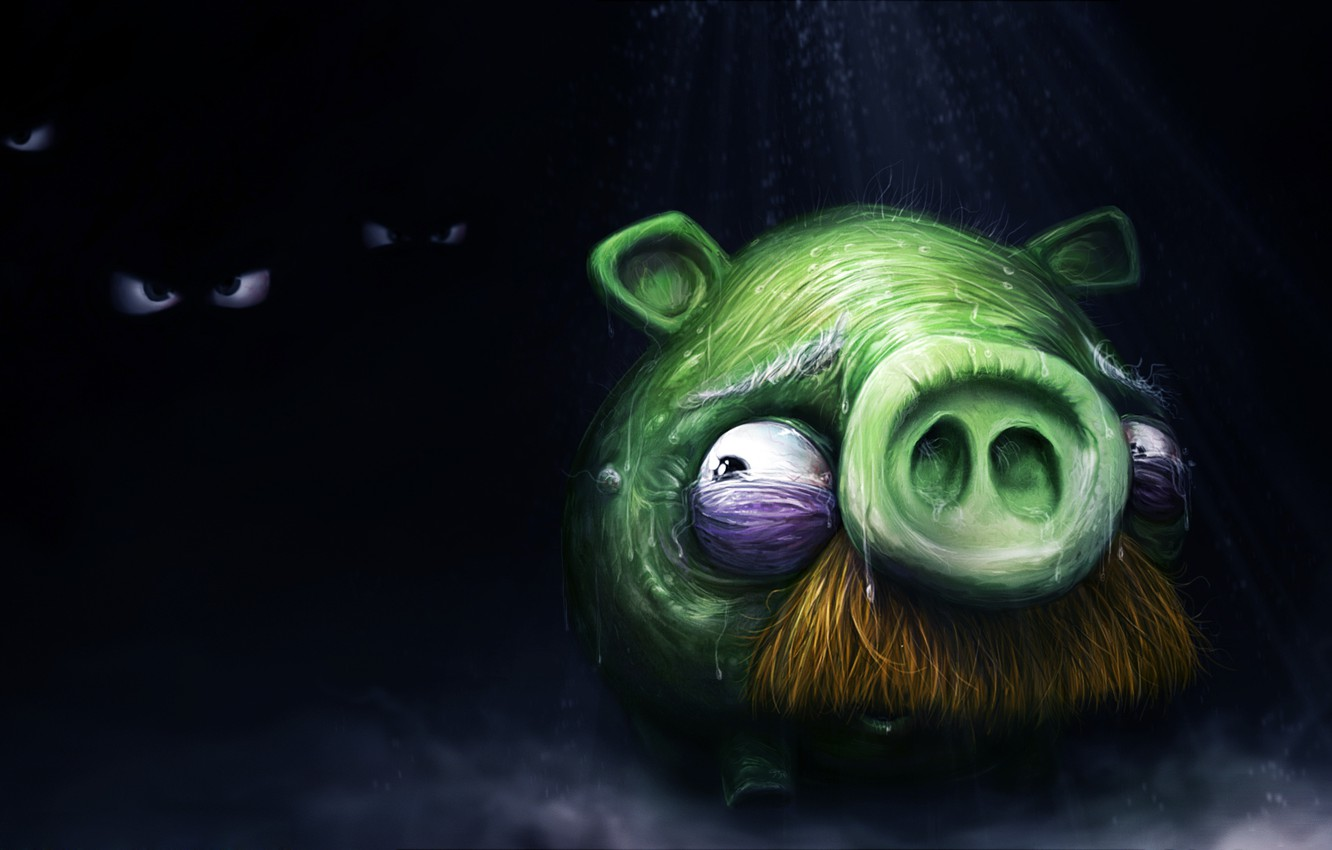 Photo wallpaper fear, darkness, pig, angry birds, angry birds