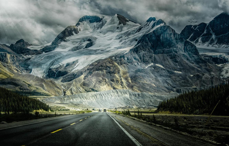 Photo wallpaper road, forest, snow, mountains, machine, photo, figure, treatment