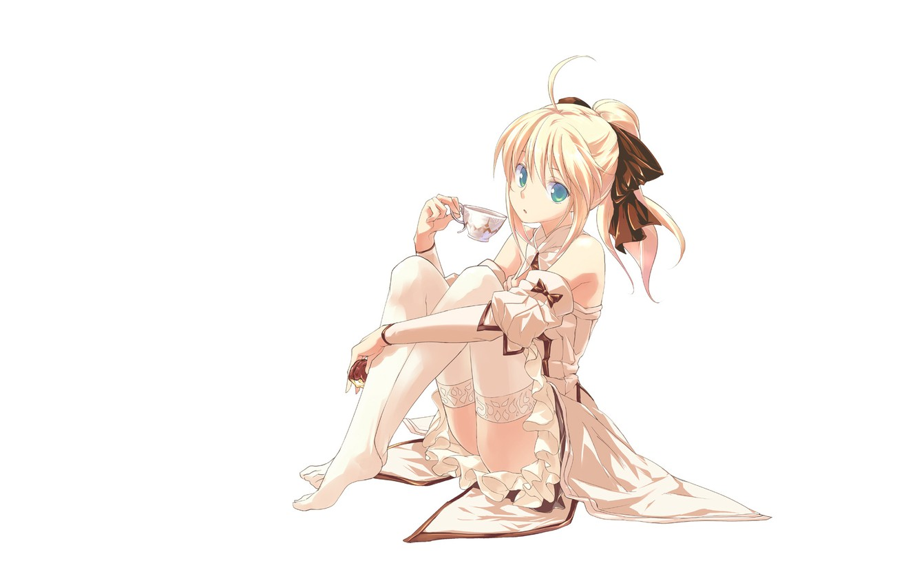 Photo wallpaper look, girl, stockings, blonde, white background, fate stay night, saber lily, sitting