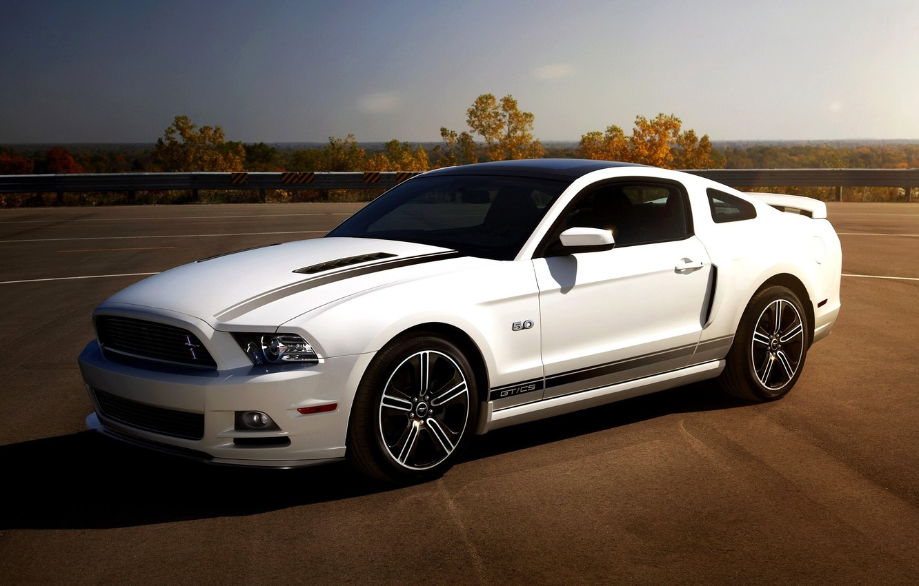 Photo wallpaper white, the sky, mustang, Mustang, ford, muscle car, Ford, 5.0, the front, Muscle car, california …