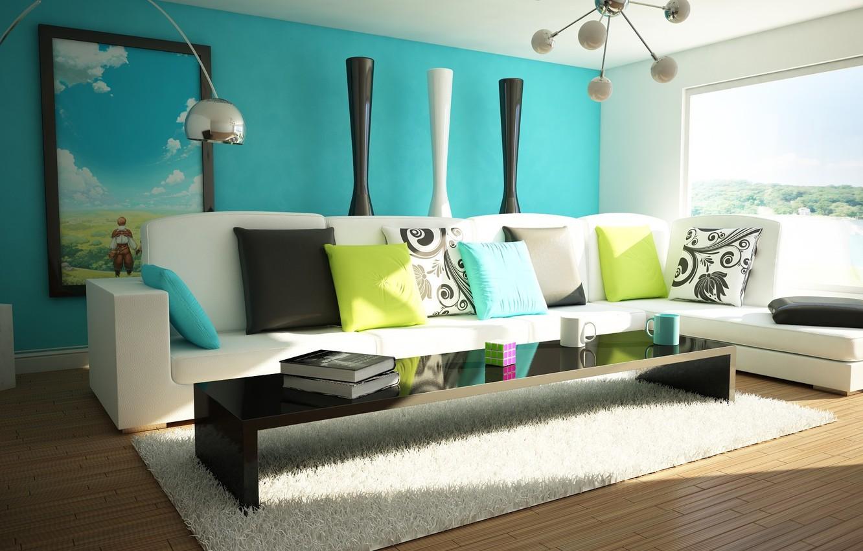 Photo wallpaper green, table, lamp, room, sofa, blue, bright, colored, books, interior, pillow, mug, Cup, apartment, Rubik's …