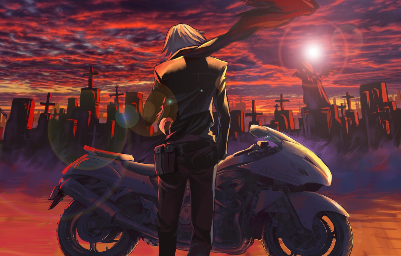 Photo wallpaper the sky, the sun, clouds, sunset, crosses, anime, scarf, art, motorcycle, cemetery, guy, kiki.