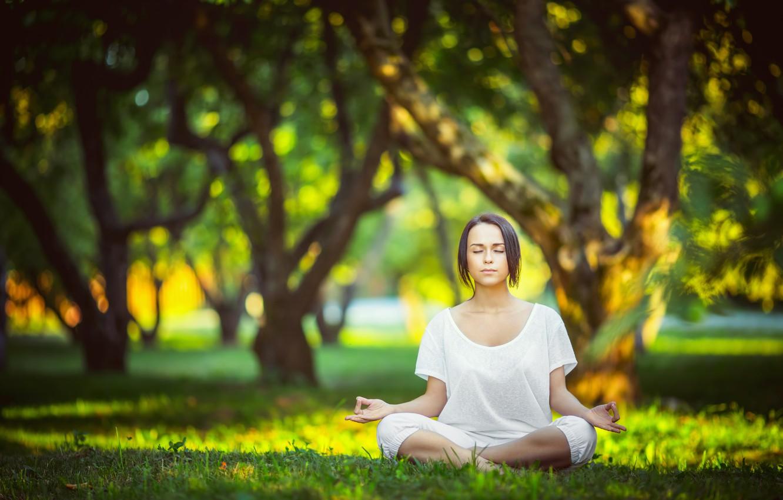 Photo wallpaper park, yoga, white clothes