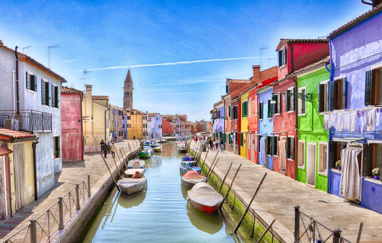 Photo wallpaper the sky, home, boats, Italy, Venice, channel, Burano island