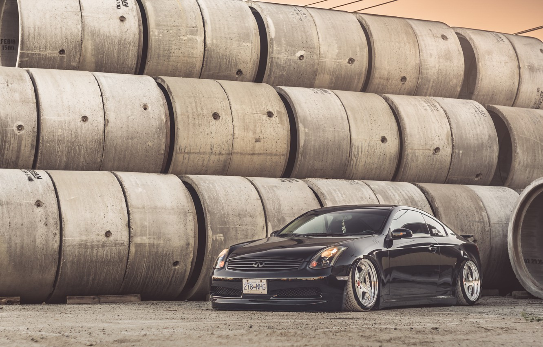 Photo wallpaper Infiniti, Black, Coupe, Wheels, G35, Hrome