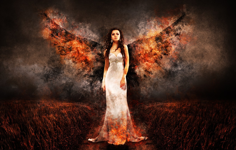 Photo wallpaper field, girl, night, fire, wings, angel, dress, is, in white, Angel of Fire