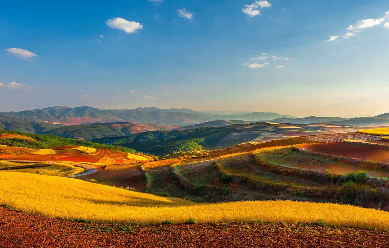 Photo wallpaper field, the sky, clouds, hills, horizon, China, farm, power lines, Yunnan, Kunming
