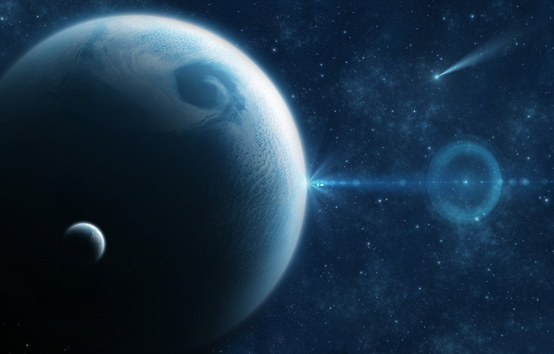 Photo wallpaper dark, light, Star, blue, planet, Sci FI