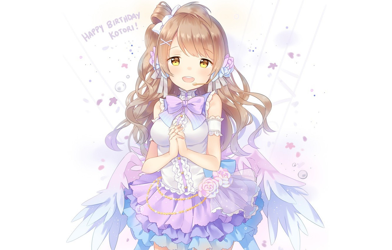 Photo wallpaper girl, smile, wings, anime, art, microphone, love live! school idol project, minami kotori, hitsukuya