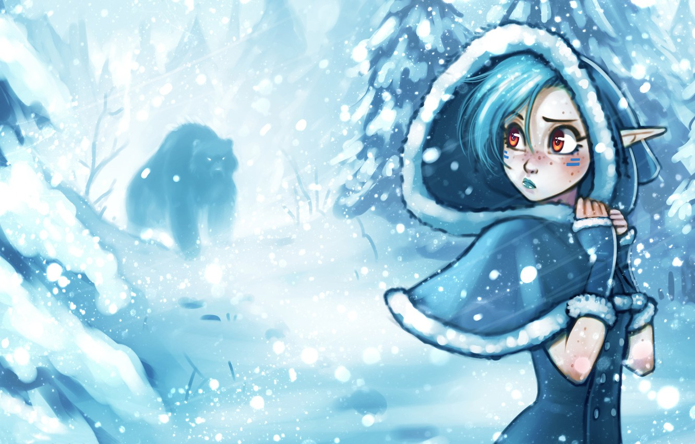 Photo wallpaper winter, forest, girl, snow, trees, the wind, elf, bear, hood, Blizzard