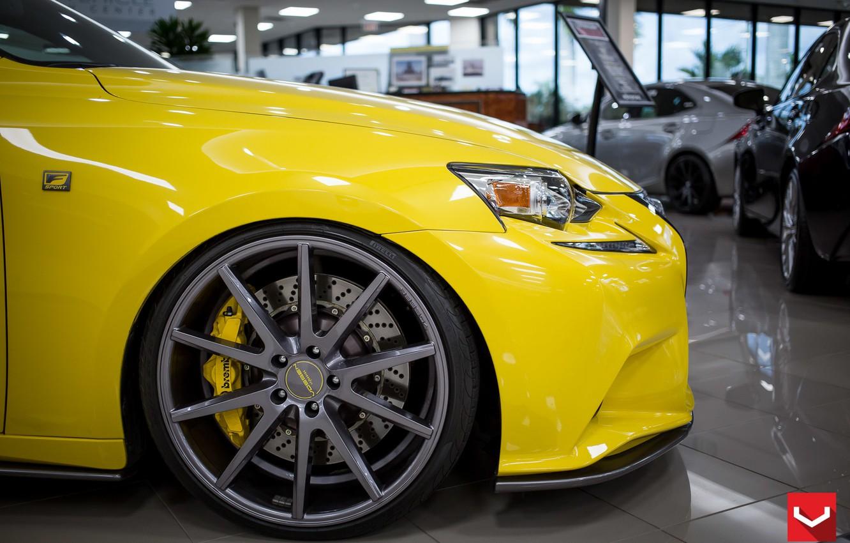 Photo wallpaper Yellow, Lexus, Disk, Wheel, Lexus, Vossen