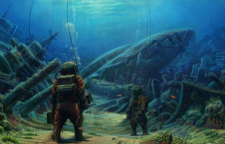 Photo wallpaper sea, diver, ships, the bottom, depth