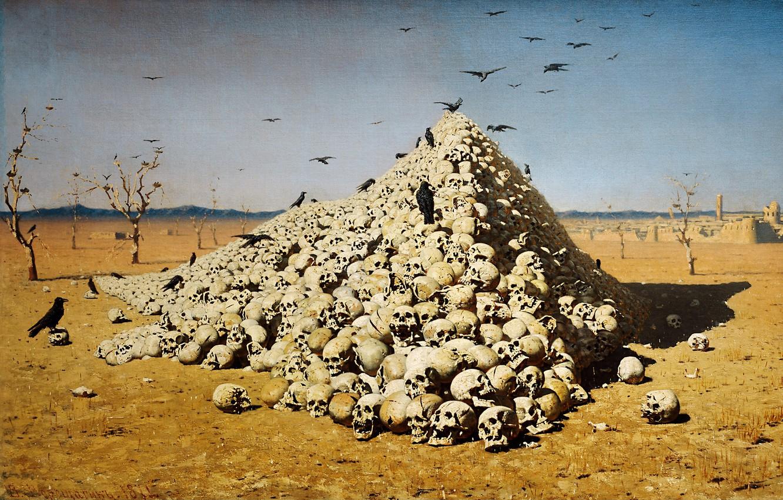 Photo wallpaper picture, skull, Vereshchagin, the apotheosis of war
