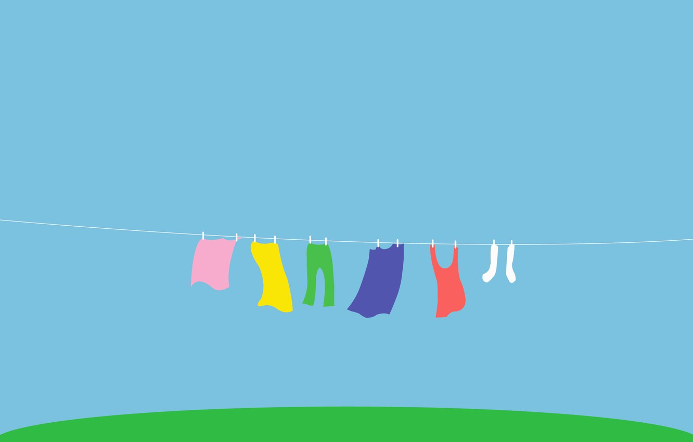 Photo wallpaper grass, linen, color, rainbow, rope, Mike, yard, socks, drying, pants, wash