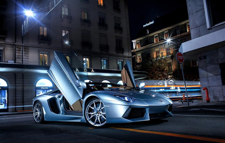 Photo wallpaper Lamborghini, City, LP700-4, Aventador, Supercars, Road, Silver, Door, Ligth