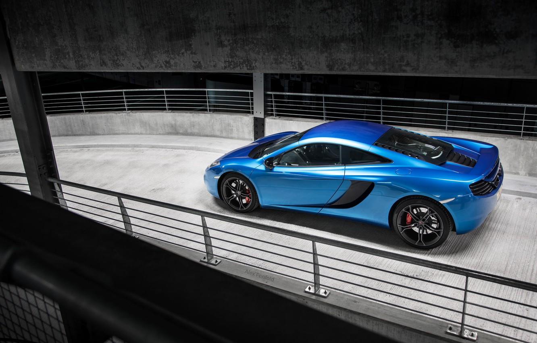 Photo wallpaper McLaren, Blue, Ass, McLaren, Parking, Blue, Supercar, MP4-12C, Parking, Supercar, Rear