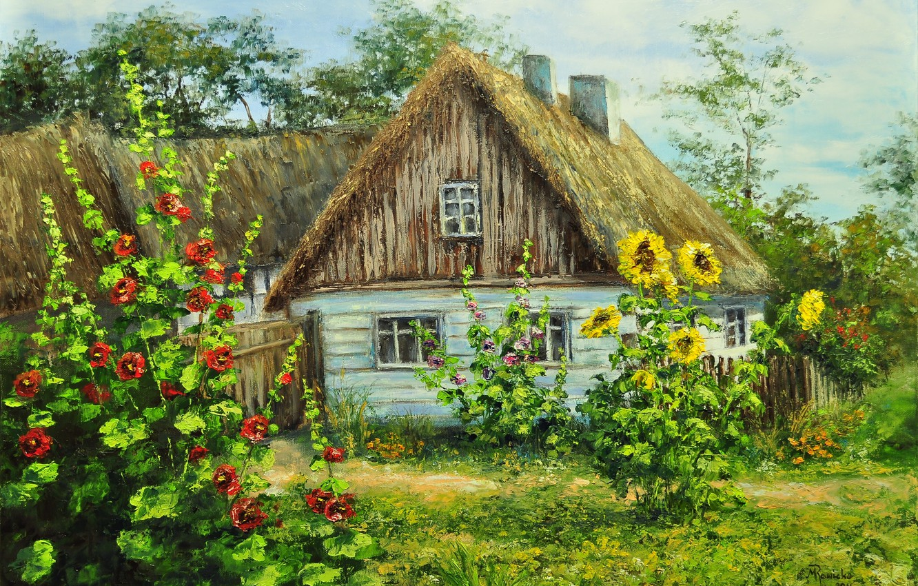 Photo wallpaper greens, summer, flowers, house, village, village