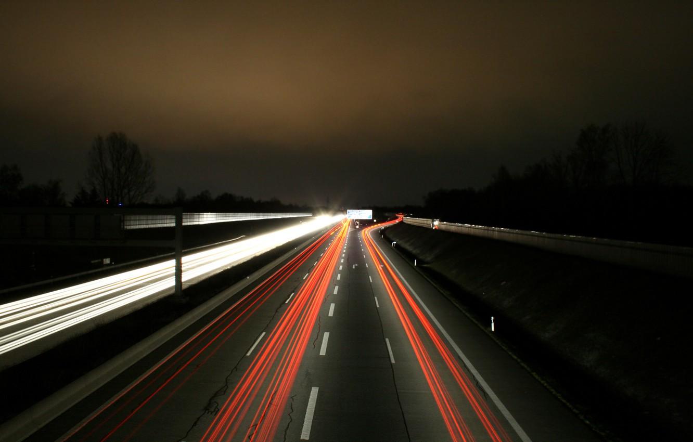Photo wallpaper Lights, Night, Autobahn