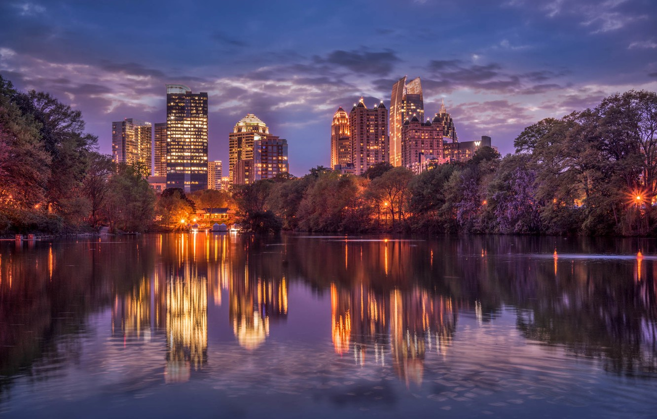 Photo wallpaper the sky, clouds, trees, night, the city, lights, reflection, river, home, skyscrapers, lighting, USA, USA, …