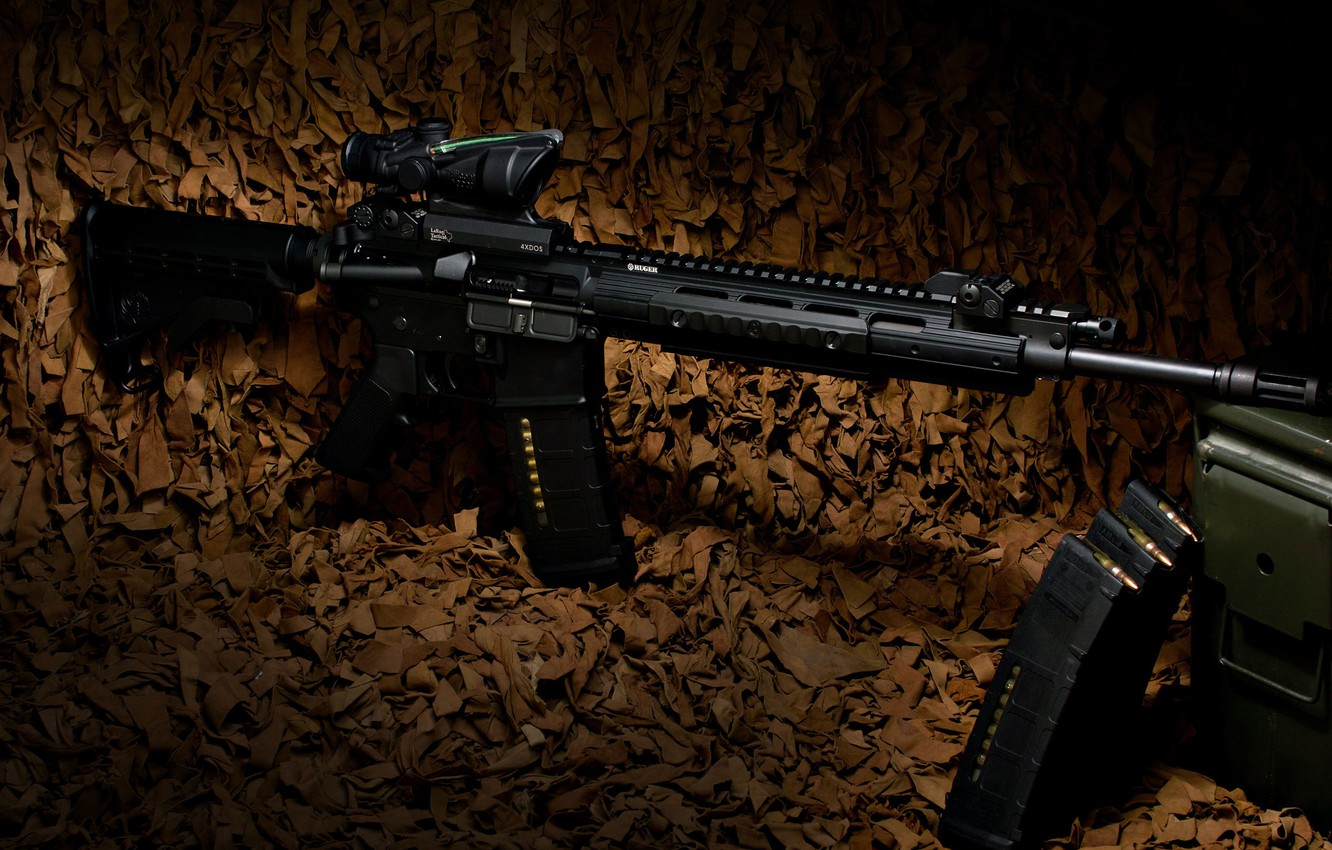 Photo wallpaper weapons, rifle, carabiner, Ruger, semi-automatic, SR-556E