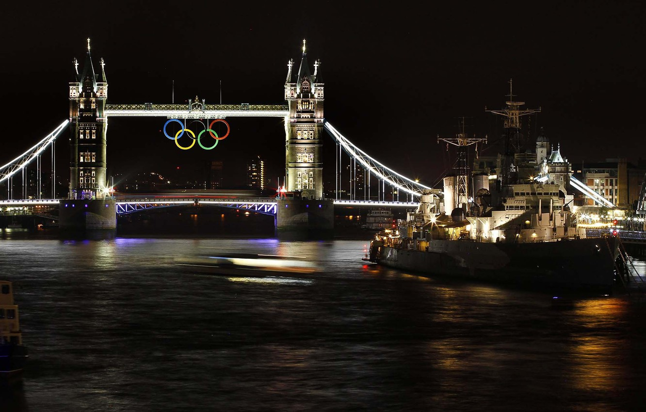 Photo wallpaper night, river, ship, England, London, Thames, Tower bridge, cruiser, The Olympic rings, summer Olympic games …