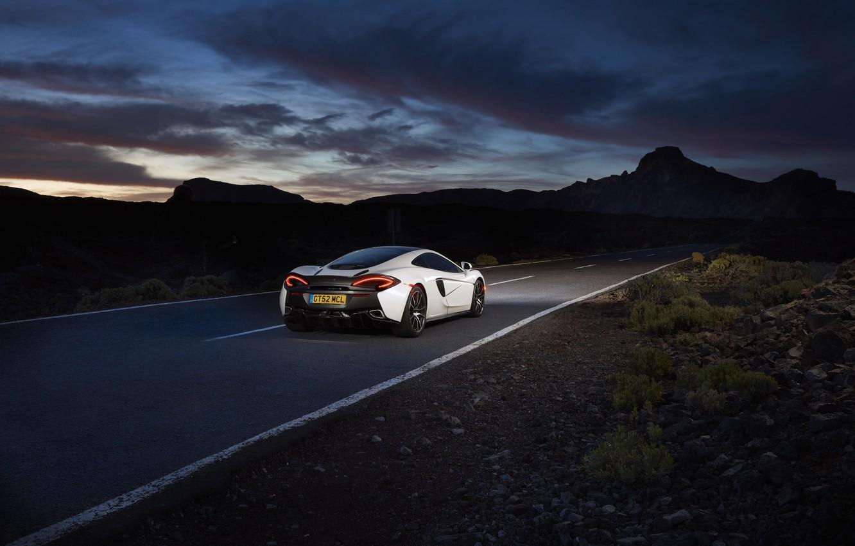 Photo wallpaper road, the sky, McLaren, white, supercar, car, back, brake lights, 570GT