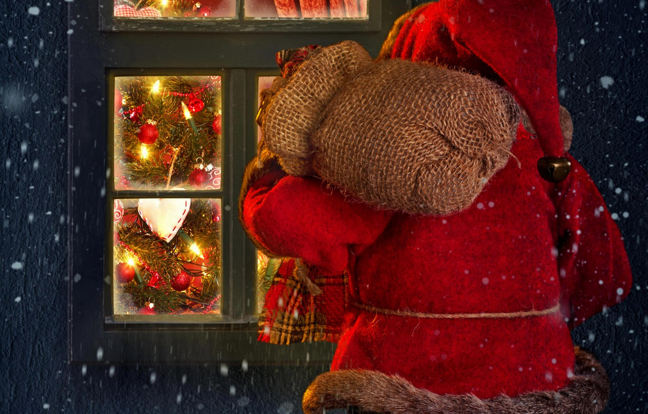 Photo wallpaper winter, snow, lights, lights, house, holiday, window, house, Santa Claus, winter, snow, window, Merry Christmas, …