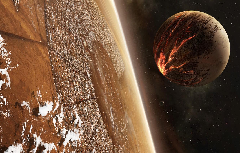 Photo wallpaper stars, planet, satellite, disaster
