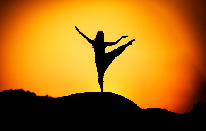 Photo wallpaper girl, silhouette, yoga, sunrise