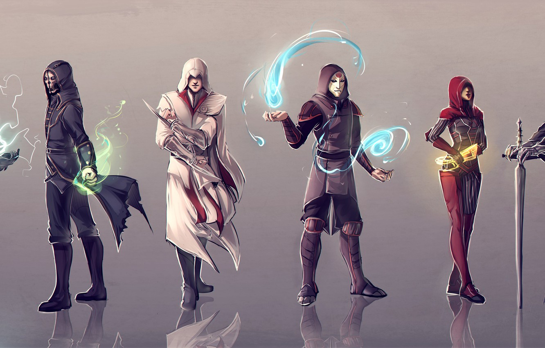 Photo wallpaper Mass Effect, Assassin's Creed, The Elder Scrolls V: Skyrim, Dishonored, Corvo Attan, Amon, Ezio Auditore …