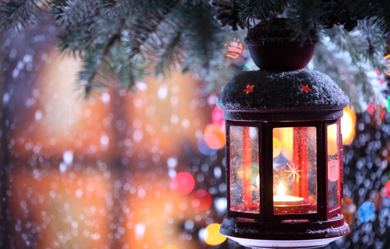 Photo wallpaper winter, snow, snowflakes, tree, candle, branch, flashlight, candle holder