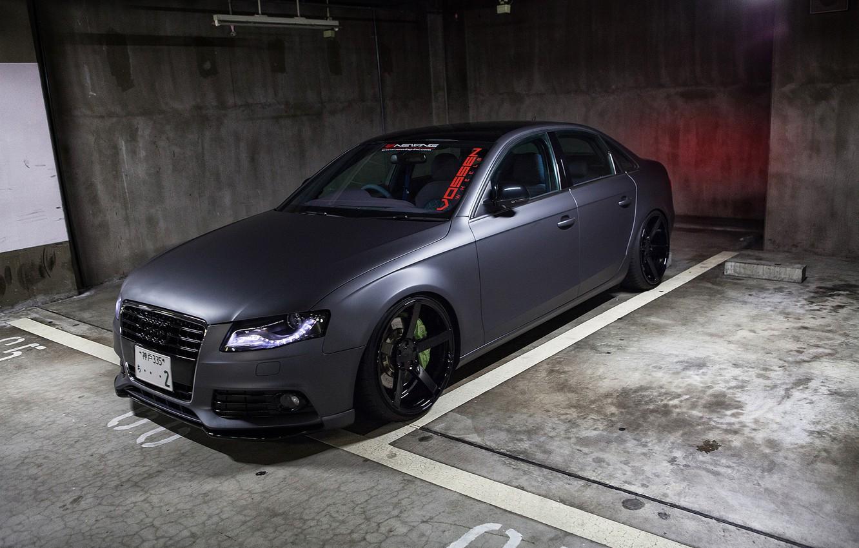 Photo wallpaper Audi, Audi, tuning, black, black, vossen, Sedan, RS4