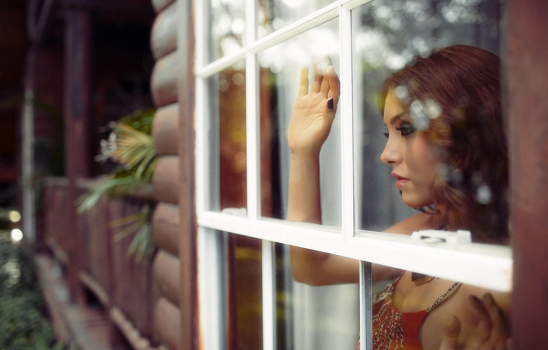 Photo wallpaper girl, house, mood, window