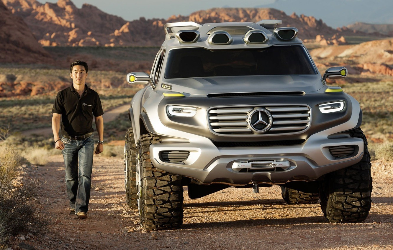 Photo wallpaper road, people, SUV, Mercedes Benz