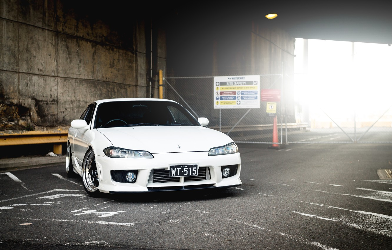 Photo wallpaper S15, Silvia, Nissan, white, tuning, front