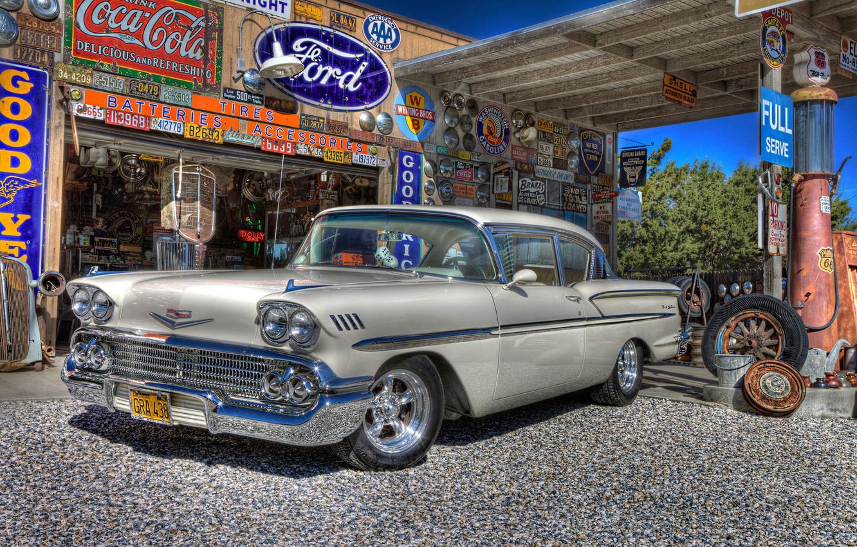 Photo wallpaper retro, dressing, Chevrolet, car, classic, Chevy, gas station, 1958, service