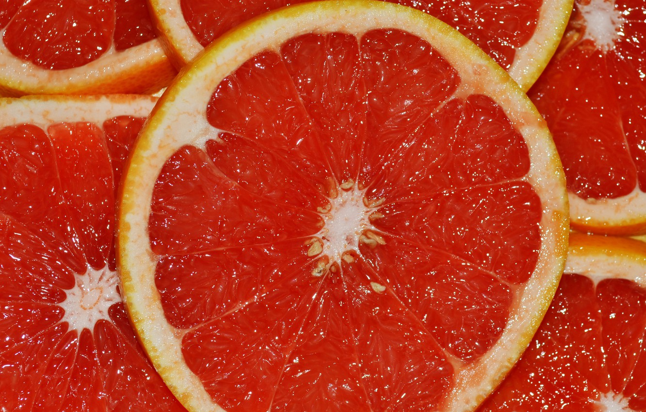 Photo wallpaper red, citrus, grapefruit, slices, juicy