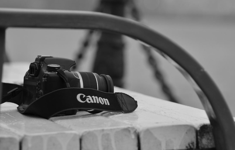 Photo wallpaper the camera, canon, bench