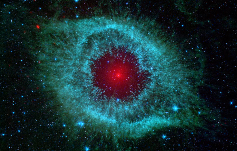 Photo wallpaper nebula, snail, nebula, spitzer, infrared, helix