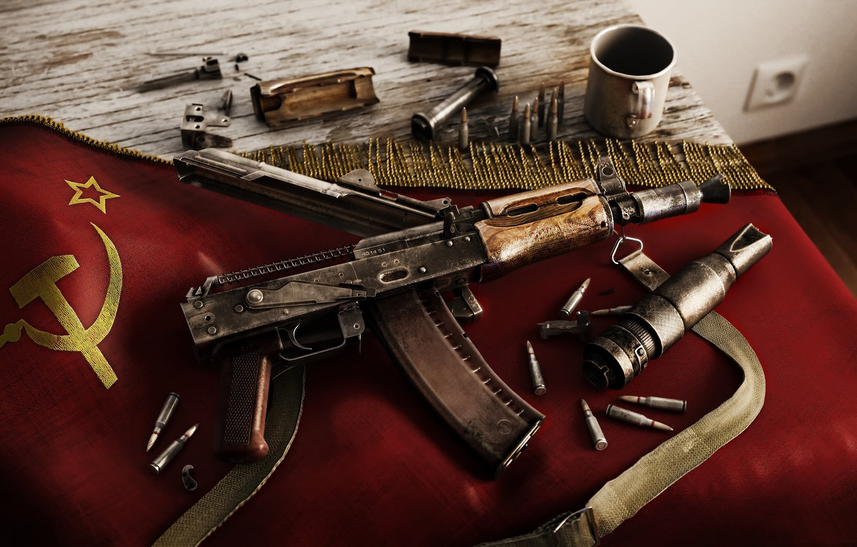 Photo wallpaper machine, Kalash, AKS74U, AKS74U, AK-74