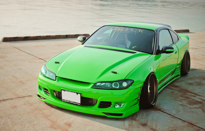 Photo wallpaper auto, pierce, green, Nissan, tuning, Sylvia, Nissan Silvia S15