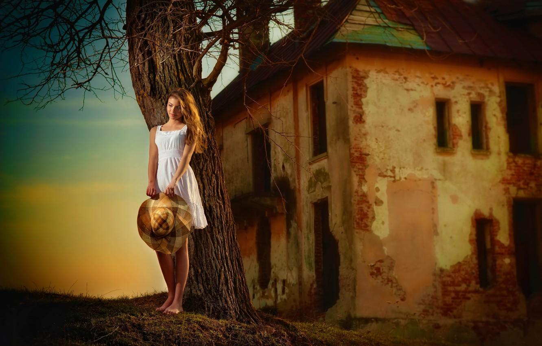 Photo wallpaper white, girl, house, tree, hat, dress, old, barefoot