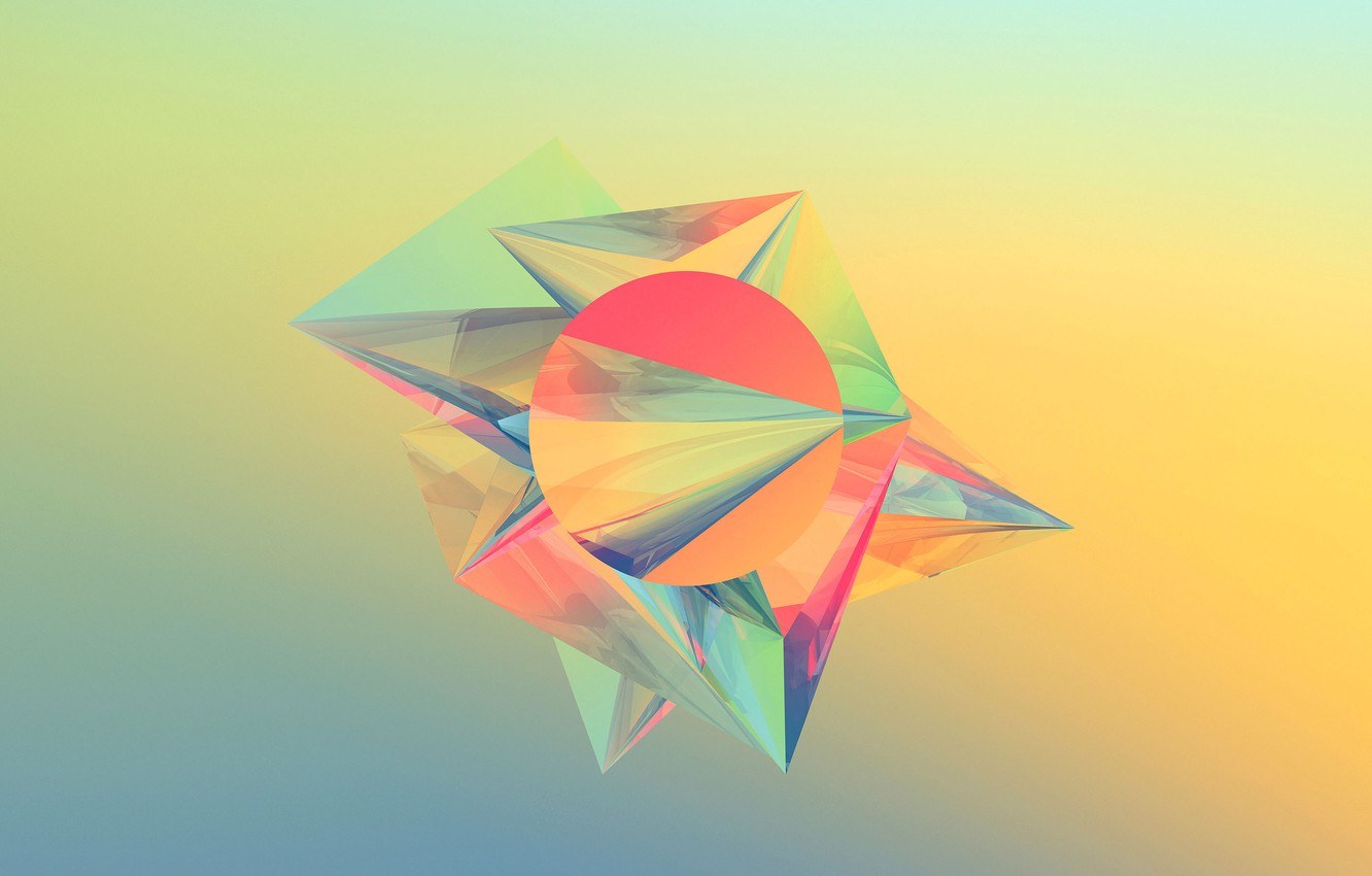 Photo wallpaper Wallpaper, round, pyramid, angle, geometry, figure, face, triangle